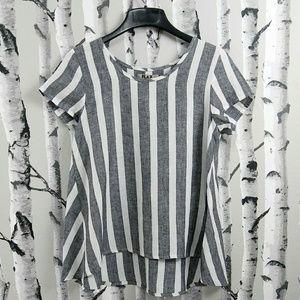 Flax Womens 100% Linen Horizontal Stripe Top S